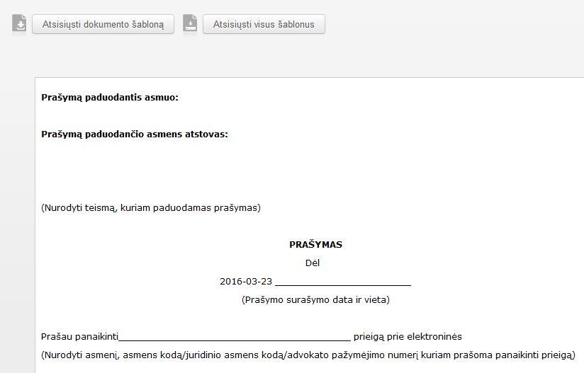 Teismui teikiamų dokumentų šablonai - Lietuvos teismai